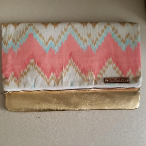 handmade Handbags - New Golden fabric clutch Handbag